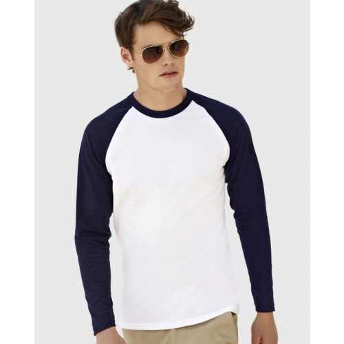 ab54090642c4f T-Shirt Bicolore Manches longues col rond. 1 Face - Montpellier ...